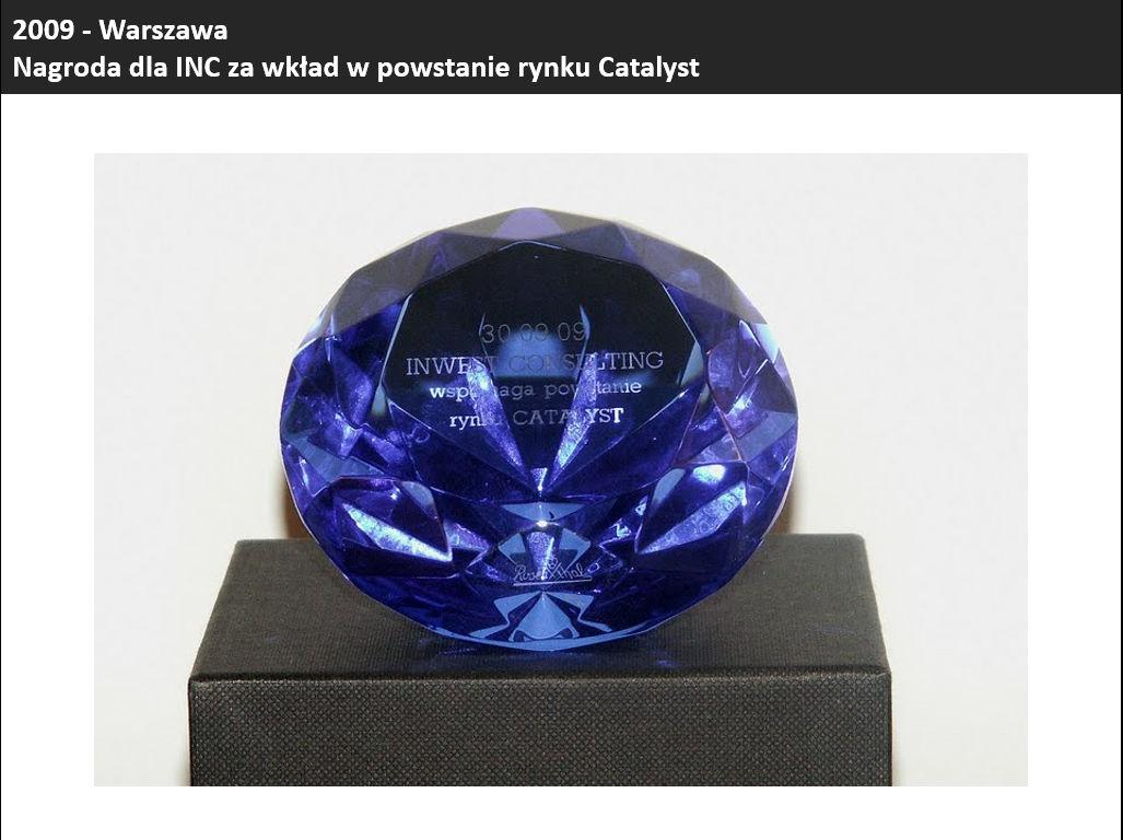 Nagroda przyznana przez GPW Spółce INC (wówczas Inwest Consulting S.A.) za wkład w powstanie rynku CATALYST.