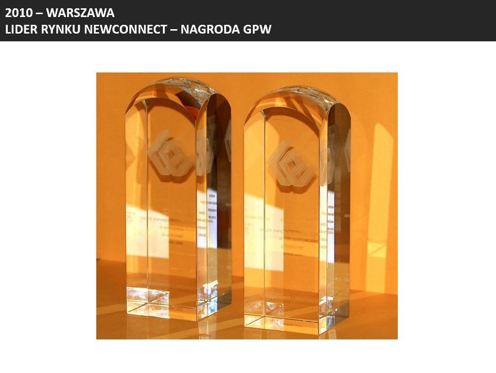 Nagrody dla INC (wówczas INVESTcon GROUP S.A.) za największą liczbę spółek wprowadzonych na rynek NewConnect w 2009 roku oraz za zaangażowanie w rozwój rynku CATALYST w roku 2009.